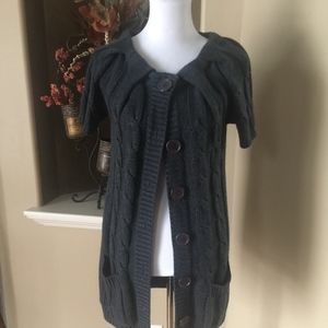 Charcoal Grey Short Sleeve Button Front Cardigan